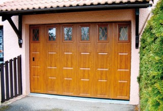 Photo - Rustic Golden Oak Garage Door with Window Panes
