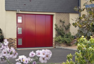 Photo - Lacquered Side Garage Door with Window Panes