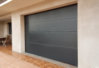 Photo - Lacquered Micro Grooved Garage Door