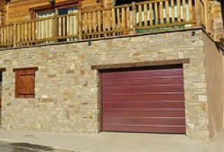 Photo - Mahogany Single-Grooved Garage Door